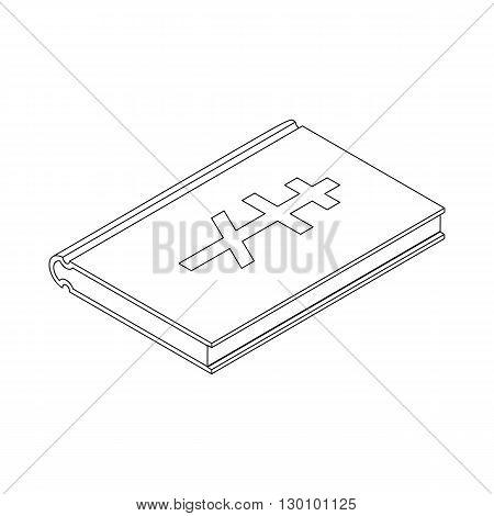 Bible orthodox symbol icon, isometric 3d style. Black illustration on white for web