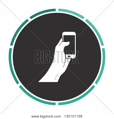 touch display Simple flat white vector pictogram on black circle. Illustration icon
