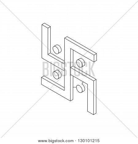 Swastika icon, isometric 3d style. Hinduism spiritual symbol. Black illustration on white