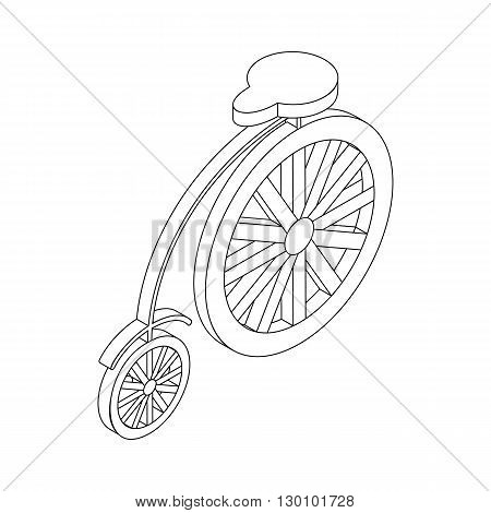Bicycle icon, isometric 3d style. Retro style circus bike with big rear wheel