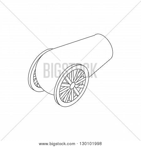 Cannon artillery icon, isometric 3d style. Black illustration on white for web