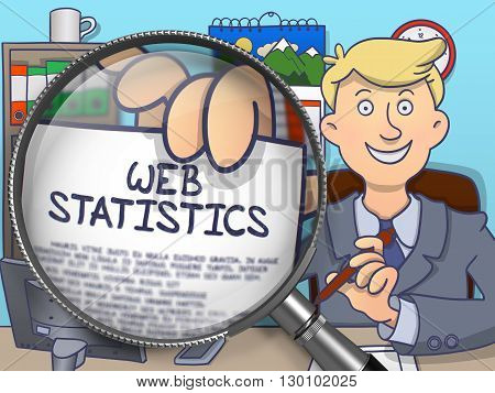 Officeman Showing a Paper with Inscription Web Statistics. Closeup View through Lens. Multicolor Modern Line Illustration in Doodle Style.