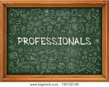 Green Chalkboard with Hand Drawn Professionals with Doodle Icons Around. Line Style Illustration.