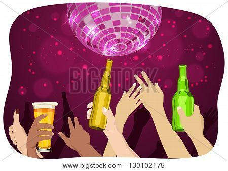 many hands raised up holding bottles and mugs of beer at the party with disco ball