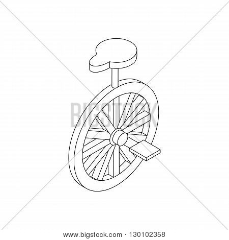 Unicycle icon, isometric 3d style. Black illustration on white for web
