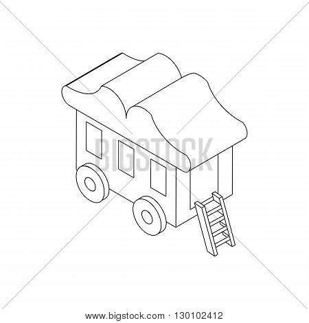 Wagon circus icon, isometric 3d style. Black illustration on white for web