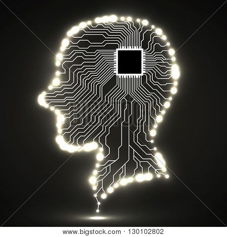 Neon human head, cpu, circuit board, vector illustration, eps 10