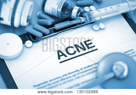 Acne Diagnosis, Medical Concept. Composition of Medicaments. Diagnosis - Acne on Background of Medicaments Composition - Pills, Injections and Syringe. 3D Render.