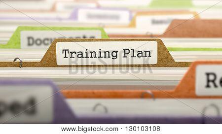 Training Plan Concept on Folder Register in Multicolor Card Index. Closeup View. Selective Focus. 3D Render.