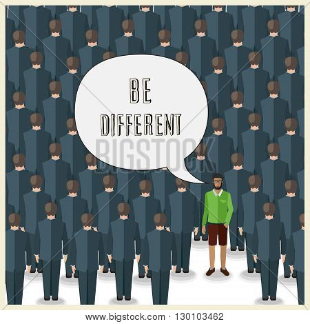 motivation quote with young man standing in a huge crowd of suits: be different