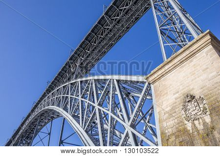 Close up of the bridge Ponte Luis in Porto Portugal