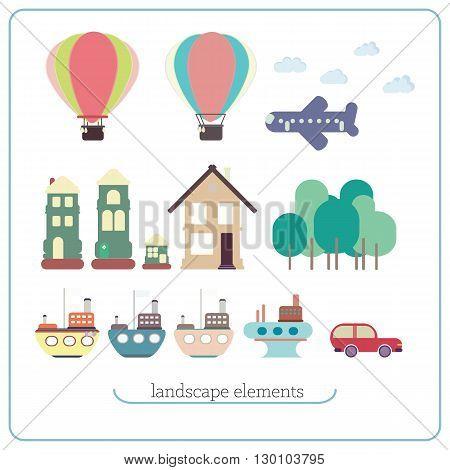 Elements For Landscape. Ship, Balloon, Plane, Buildings, Trees,