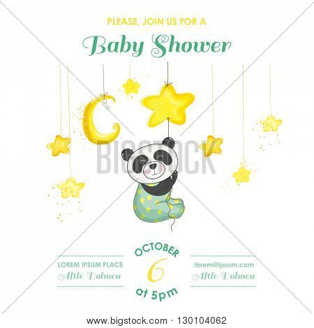 Baby Shower or Arrival Card - Baby Panda Catching Stars - in vector