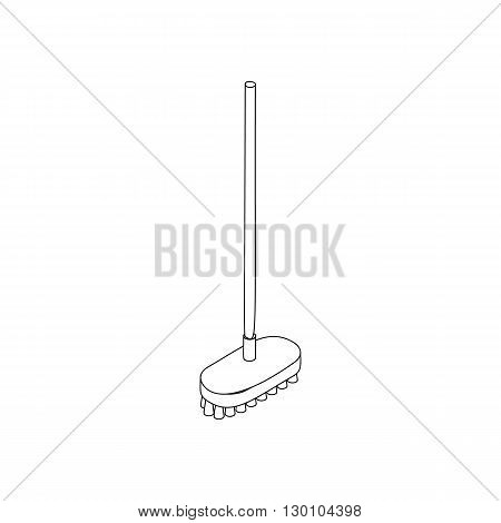 Broom icon in isometric 3d style isolated on white background. Cleaning