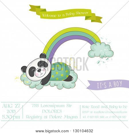 Baby Shower or Arrival Card - Baby Panda on a Rainbow- in vector