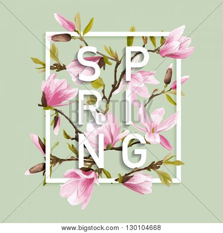 Floral Spring Graphic Design - with Magnolia Flowers - for t-shirt, fashion, prints - in vector