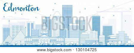 Outline Edmonton Skyline with Blue Buildings. Business Travel and Tourism Concept with Modern Buildings. Image for Presentation Banner Placard and Web Site.