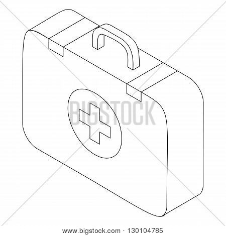 First aid kit icon in isometric 3d style isolated on white background