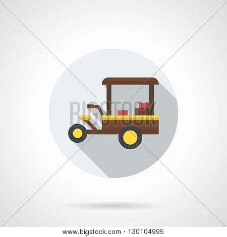 Brown three-wheeled mobile cafe with awning. Street selling coffee. Breakfast in park. Delivery of food and beverages. Round flat color style vector icon.