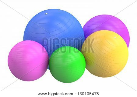 Set of Fitballs 3D rendering isolated on white background