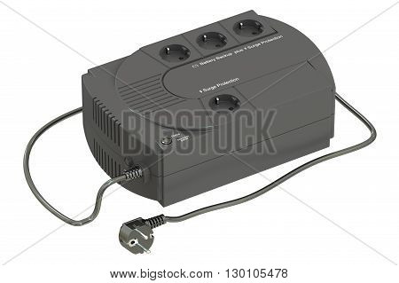 Uninterruptible power supply 3D rendering isolated on white background