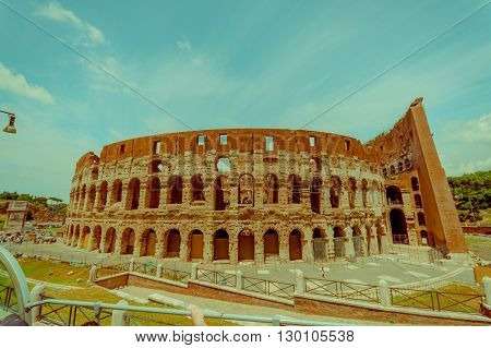 ROME, ITALY - JUNE 13, 2015: Roman Coliseum view, located in the center of the city and considered one of the seven wonders of the modern world.
