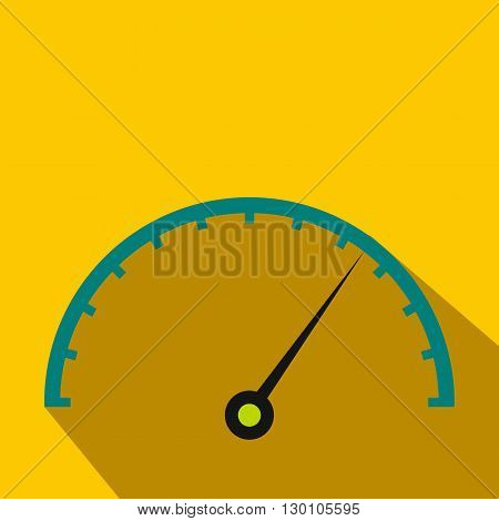 Speedometer icon in flat style on a yellow background