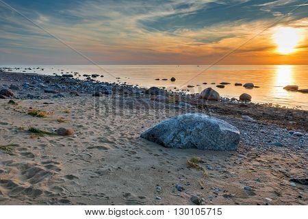Stony beach at the gulf of Riga near Saulkrasti, Latvia