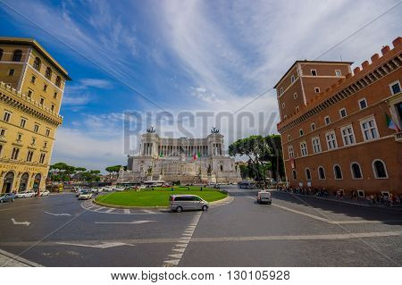 ROME, ITALY - JUNE 13, 2015: Vittorio Emanuele II monument or Altar of motherland nice view with a little square in front of this.