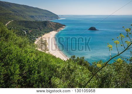 View of the beautiful coastal landscapes of the Arrabida region located on Setubal Portugal.