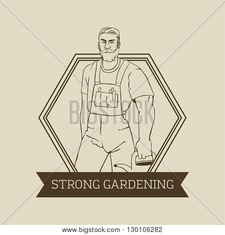 Vector logo or badge design with hipster man gardener in cool retro style