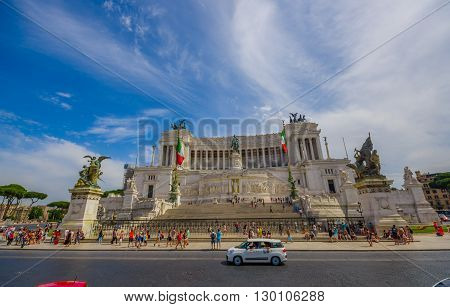 ROME, ITALY - JUNE 13, 2015: Vittorio Emanuele II monument or Altar of motherland is an historic place to visit in Rome.