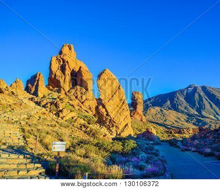 Garcia stone close to Teide mountain at sunset, in spring season