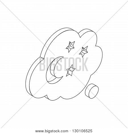 Cloud stars and moon icon in isometric 3d style on a white background