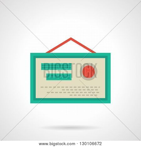 Hanging pharmacy certificate with green frame, red elements and rope. Quality guarantee of medicines and treatments. Online marketing. Flat color style vector icon.