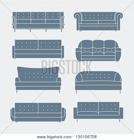 Vector infographic of sofa design styles. sofa Icon set