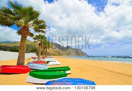 Traditional Teresitas beach in summer season in Tenerife island - Spain