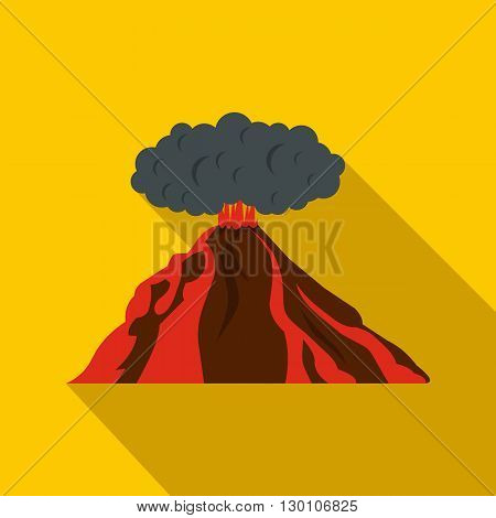 Volcano erupting icon in flat style on a yellow background