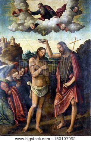 ZAGREB, CROATIA - DECEMBER 12: Bartolomeo Coda: Baptism of Christ, exhibited at the Great Masters Renaissance in Croatia, opened December 12, 2011. in Zagreb, Croatia