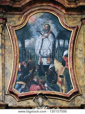 KOTARI, CROATIA - SEPTEMBER 16: Saint Francis Xavier on the Saint Anthony altar in the church of Saint Leonard of Noblac in Kotari, Croatia on September 16, 2015.