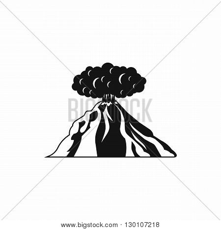 Volcano erupting icon in simple style on a white background