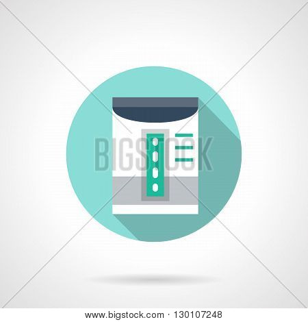 Humidifier with gray stripe and blue scale elements. Air water vapor device for treatment of respiratory diseases. Home climate equipment. Round flat color style vector icon.