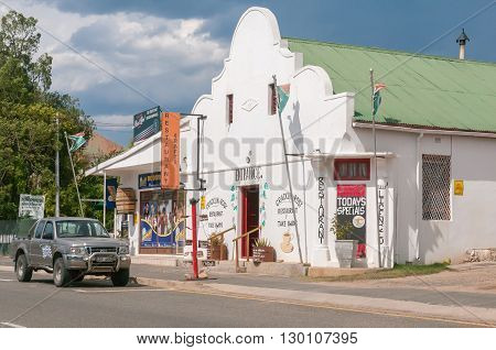 UNIONDALE SOUTH AFRICA - MARCH 5 2016: A street scene with a restaurant and liquor store in Uniondale a town in the Western Cape Province.