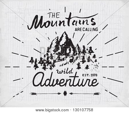 Mountains Handdrawn Sketch Emblem. Outdoor Camping And Hiking Activity, Extreme Sports, Outdoor Adve