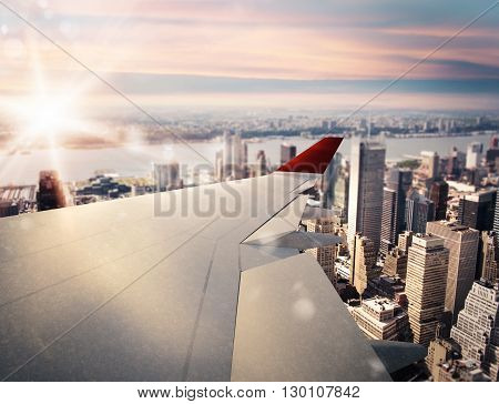 3D rendering of aircraft above the city