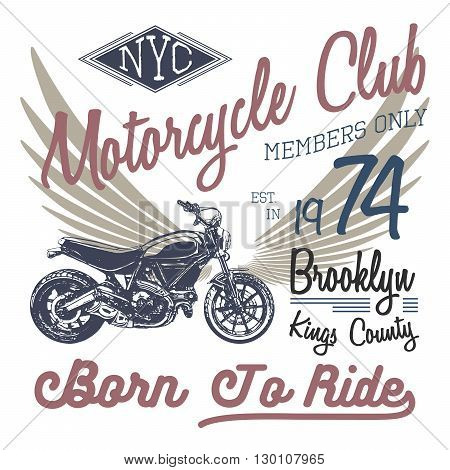 T-shirt Typography Design, Motorcycle Vector, Nyc Printing Graphics, Typographic Vector Illustration