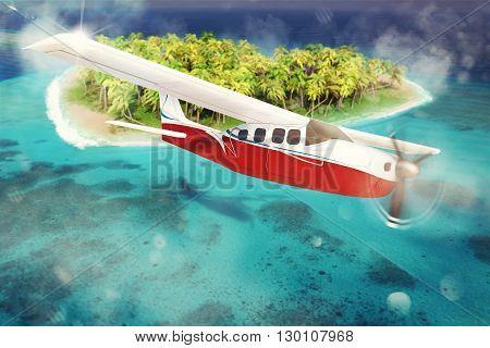 3D rendering of airplane flies over islet