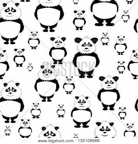 Vector seamless pattern Panda bear on white