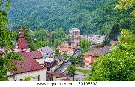 Panoramic view in Herculane spa resort (european thermal bath) Romania