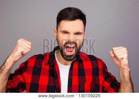 Yes! Successful Man Triumphing With Raised Fists